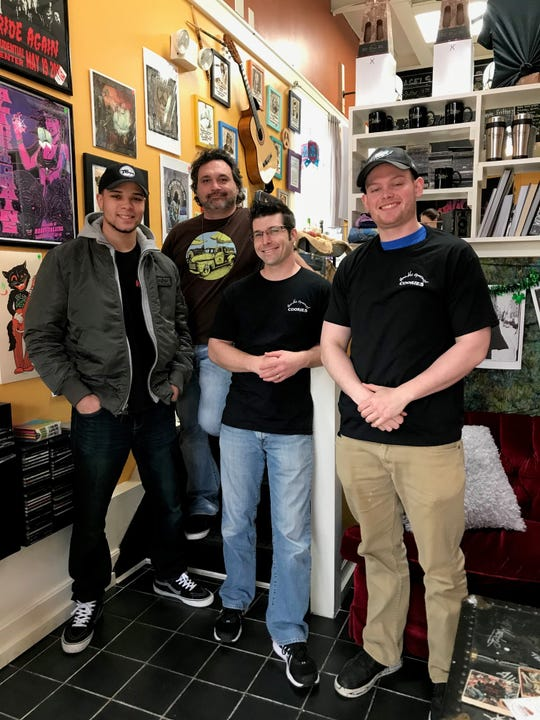 Pictured inside Bubby's Beanery in Toms River are customer Ryan Jensen (from left); owner John Earp; Nic Compitello, owner of Humble Gourmet Cookies in Howell; and customer John Pawlowski