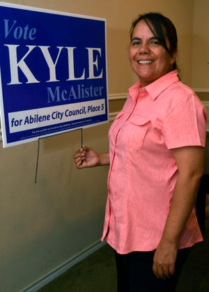 Lourdes Carter at her home. Carter is a longtime fan of incumbent Abilene City Councilman Kyle McAlister, even when her views and his votes don't align.