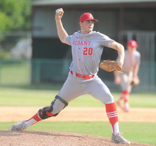 Albany senior Ryan Hill gets ready to pitch in a relief appearance in Game 1 of a Region I-2A quarterfinal series against Haskell on May 16 at McMurry University's Driggers Field.