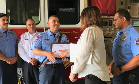Corpus Christi Firefighter/EMT Raymond Naranjo, a Robstown native, received the Corpus Christi Medical Center's EMS of the Year - Brilliant Star of Life Award on Tuesday, June 4, 2019.
