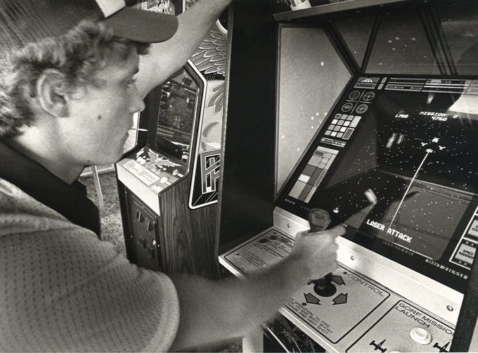 Billy Nelson plays one of the video games at Corpus Chrisit arcade Shenanigans on Gollihar Road in December 1981.