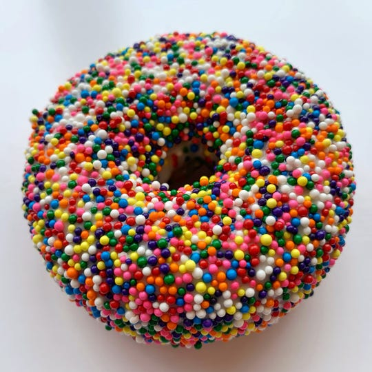 This Pride Donut is available Saturdays and Sundays in June from Federal Donuts.