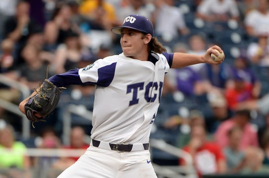 Jun 22, 2017; Omaha, NE, USA; TCU Horned Frogs pitcher Nick Lodolo (12) pitches in the first inning against the Louisville Cardinals at TD Ameritrade Park Omaha. Mandatory Credit: Steven Branscombe-USA TODAY Sports