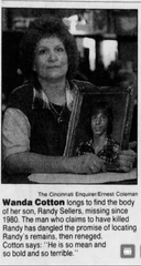 A clip from The Cincinnati Enquirer from 1995. Wanda Cotton posed with a picture of her son who vanished in 1980