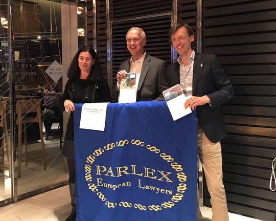 (Standing left to right) Daphna Fisher, senior partner at Israel's Gideon Fisher & Co. and newly installed president of The Parlex Group; Robert W. Anderson, partner at Westfield's Lindabury, McCormick, Estabrook & Cooper, P.C., and outgoing Parlex president; and Evert-Karel Ditvoorst, partner at the Netherlands' Kneppelhout & Korthals Advocaten. Both Anderson and Ditvoorst are members of Parlex's Management Committee.