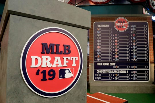 The rostrum is viewed at the MLB Network prior to the first round of the MLB draft Monday, June 3, 2019, in Secaucus, N.J.