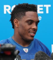 Lions linebacker Devon Kennard talks with reporters after minicamp on Tuesday, June 4, 2019, in Allen Park.