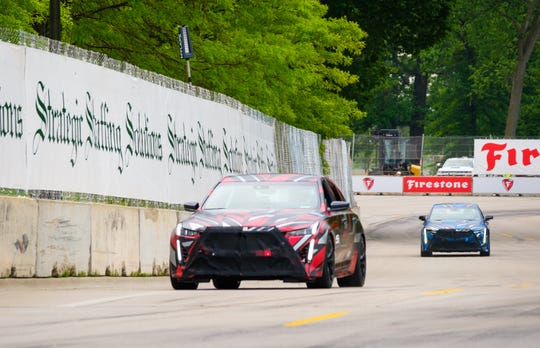 Cadillac offers a sneak peek at the future of Cadillac's V-Series as two prototypes take a lap around the Chevrolet Detroit Grand Prix presented by Lear track Saturday, June 1, 2019 on Belle Isle in Detroit, Michigan. General Motors President Mark Reuss and GM Vice President Global Product Ken Morris drive the prototypes, which represent the next step in Cadillac's V-Series performance legacy. (Photo by Steve Fecht for Cadillac)