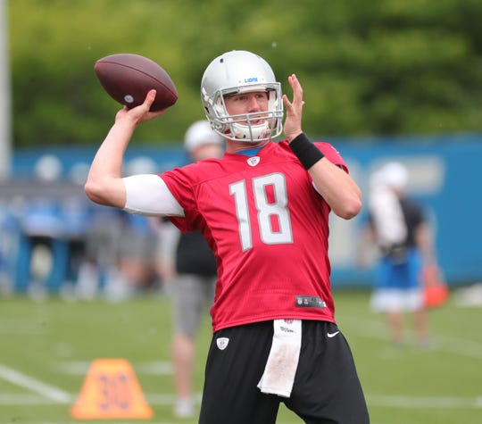 Lions quarterback Connor Cook goes through passing drills during minicamp on Tuesday, June 4, 2019, in Allen Park.