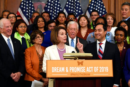 House Speaker Nancy Pelosi of Calif., speaks during an event on Capitol Hill in Washington, Tuesday, June 4, 2019, regarding the American Dream and Promise Act which offers a pathway to citizenship for those with Deferred Action for Childhood Arrivals (DACA), Temporary Protected Status (TPS), and Deferred Enforced Departure (DED) and similarly situated immigrants who have spent much of their lives in the United States.