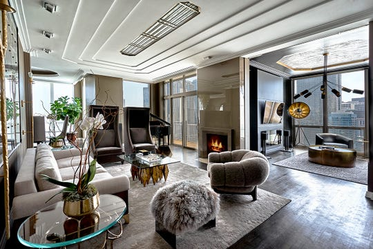 "Known for designing sophisticated, luxurious spaces like this living room in Chicago, designer Mikel Welch says ""Trading Spaces"" was an adjustment."