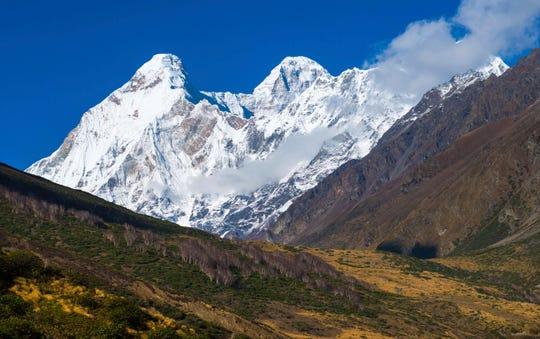 Nanda Devi twin peaks, seen from Chaukori in Uttarakhand, India.