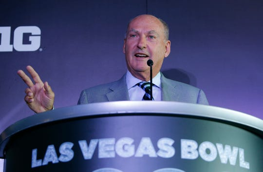 Big Ten Commissioner Jim Delany speaks during a news conference to announce changes to the Las Vegas Bowl on Tuesday.