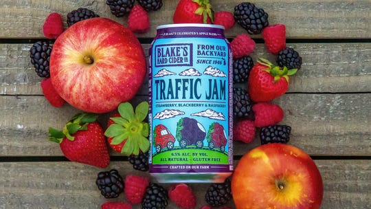 Michigan-based Blake's Hard Cider Co. released this promotional image for their new cider, Traffic Jam, which Traffic Jam and Snug in Midtown alleges violates trademark and other laws.