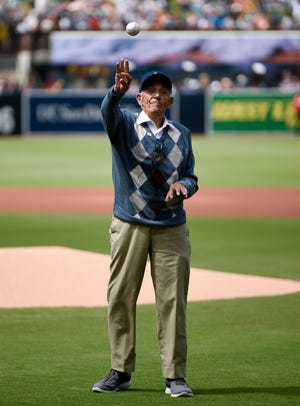 Bernard Trifoso throws out the first pitch before a baseball game between the San Diego Padres and Miami Marlins in San Diego, Sunday, June 2, 2019.