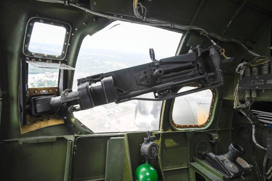 A view in the b-17 navigator's compartment showing one of the plane's 13 50 cal. machine guns Monday, June 3, 2019.