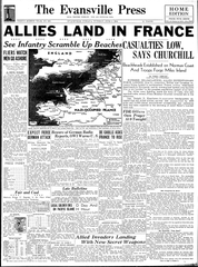 The Evansville Press front page on June 6, 1944.
