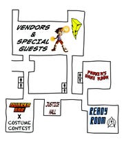 A map of SWFL SpaceCon's layout at Araba Shriners Hall in Fort Myers