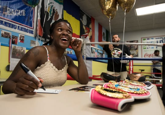 Fort Myers High graduate Tiara Brown returned to speak to the Fort Myers PAL Boxing Academy on Monday, June 3, 2019 after winning an IBF Intercontinental championship on May 19. 