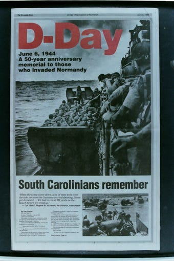 Greenville News clipping of the 50th anniversary of D-Day.