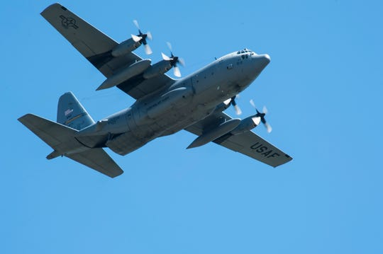 A C-130 Hercules transport aircraft from the Montana Air National Guard 120th Airlift Wing flies over Malmstrom Air Force Base.