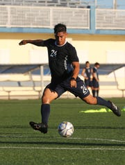 Ian Mariano, called up to the Matao for the FIFA World Cup Qatar 2022 and AFC Asian Cup 2023 Preliminary Joint Qualification Round 1, takes part in a recent training session at the Guam Football Association National Training Center.