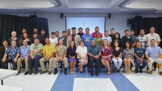 Student recruits, Guam Community College representatives, Cabras Marine Corp representatives and dignitaries after the official launch of the Guam Community College ship repair transportation boot camp on June 3 at the college.