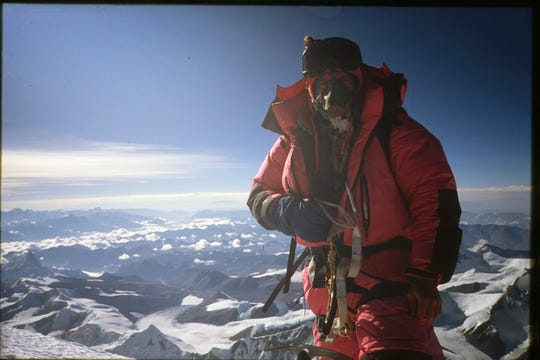 Indianapolis climber David Carter on the summit of Mount Everest in 1997, literally on top of the world.