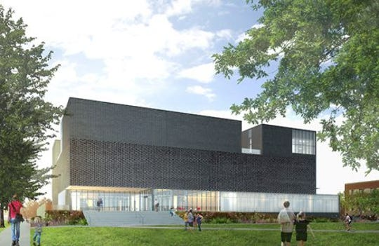 Pre-visual renderings of floor of the architecture of the new Stanley Art Museum. This is the east exterior of the building.