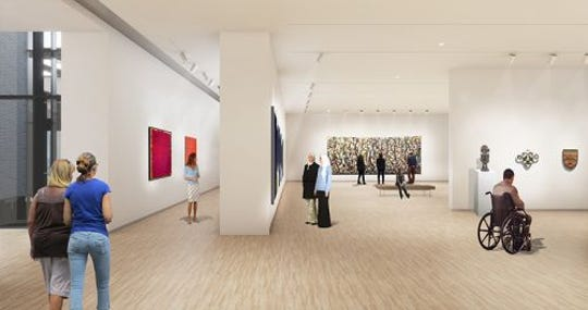 Pre-visual renderings of floor of the architecture of the new Stanley Museum of Art. This represents a gallery space.