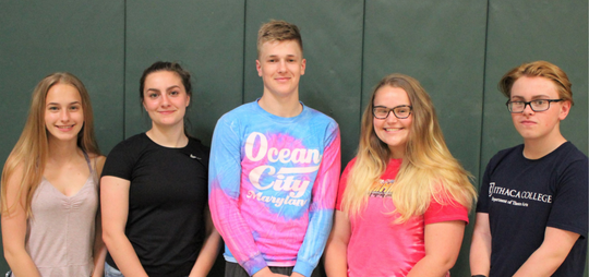 From left, Mackenzie Brown, Jillian Esposito, Anthony Pawlewicz, Morgan Downing and Nicholas Mras are graduating from Newfield High School and Tompkins Cortland Community College.