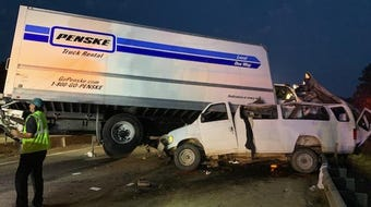 Eight men died in a crash in the pre-dawn  hours on Monday. Two vehicles — an passenger van and a Penske truck — met head-on in collision before 3:30 a.m. east of Scooba.