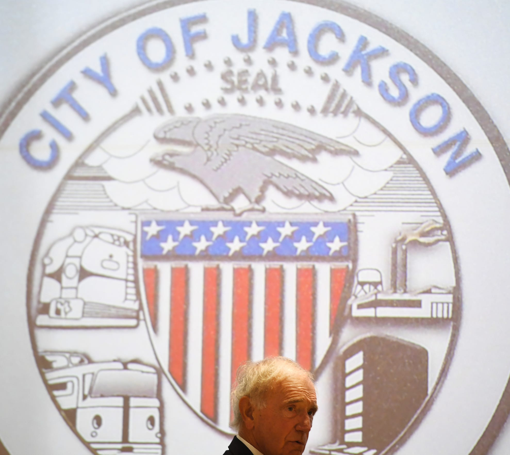 Mayor Jerry Gist presides over his final Jackson City Council meeting June 4, 2019.