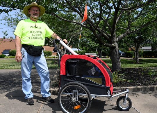 David Dudley of Maryville is walking 122 miles across Tennessee. He will celebrate his birthday and the end of his two-week trek on Saturday.