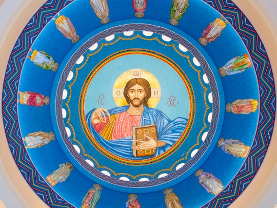 A mosaic of Jesus and prophets designed by Sirio Tonelli on the dome of St. George Greek Orthodox Church on Tuesday, June 4, 2019.