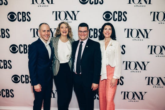 "Aaron Glick, left, is pictured with Heidi Schreck, playwright and star of ""What the Constitution Means to Me,"" along with producing partners Matt Ross and Diana DiMenna. The play is nominated for a 2019 Tony Award in the Best Play category."