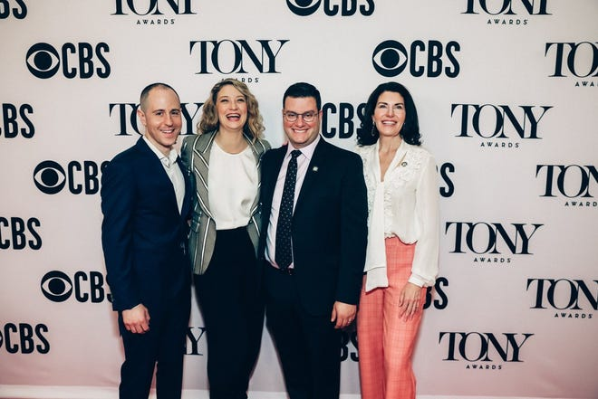 """Aaron Glick, left, is pictured with Heidi Schreck, playwright and star of """"What the Constitution Means to Me,"""" along with producing partners Matt Ross and Diana DiMenna. The play is nominated for a 2019 Tony Award in the Best Play category."""