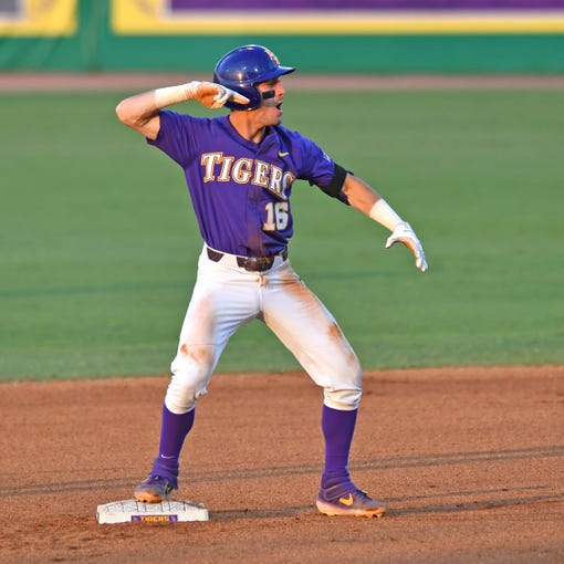 LSU's Brandt Broussard celebrates after hitting a double against Southern Mississippi during an NCAA college baseball tournament regional game Saturday, June 1, 2019, in Baton Rouge, La. (Hilary Scheinuk/The Advocate via AP)