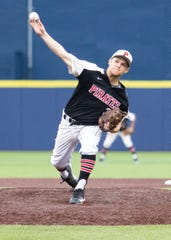 Dakota Avedisian pitches for Pinckney in a district championship baseball game against Dexter at the University of Michigan.