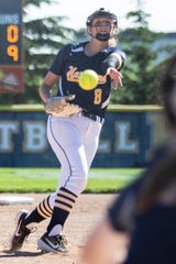 Hartland's Rachel Everett allowed two runs on two hits in a 12-2 victory over Milford in the district championship game on Monday, June 3, 2019.