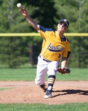 Hartland's AJ Craven delivers a pitch in a 6-5 loss to Fenton in a district baseball championship game on Monday, June 3, 2019.