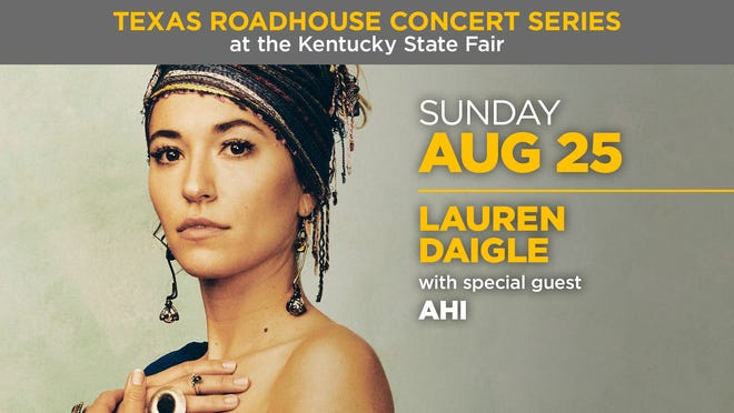 Lauren Daigle will perform at the Texas Roadhouse Concert Series at the 2019 Kentucky State Fair.