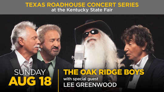 The Oak Ridge Boys will perform at the Texas Roadhouse Concert Series at the 2019 Kentucky State Fair.