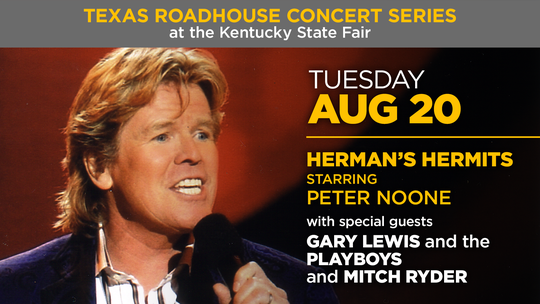 Herman's Hermits starring Peter Noone will perform at the Texas Roadhouse Concert Series at the 2019 Kentucky State Fair.