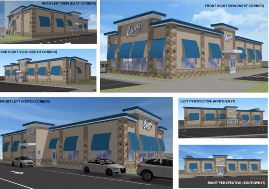 Renderings of the Culver's restaurant and drive-through planned for a site on Lansing Street in Charlotte, where a building owned by Davis Auto Mart currently sits.