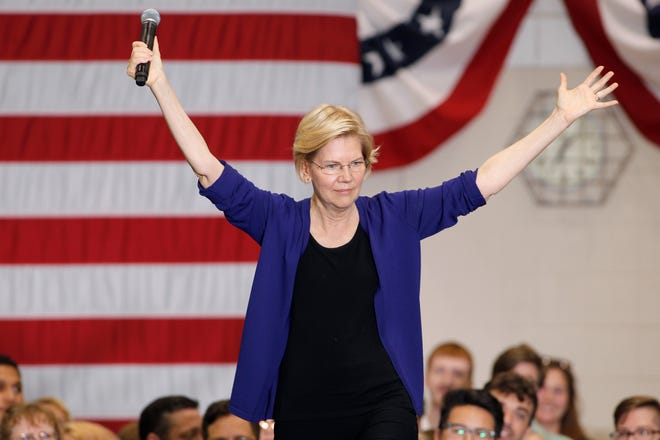 Democratic presidential candidate Sen. Elizabeth Warren, D-Mass., speaks, Tuesday, June 4, 2019, at Lansing Community College in Lansing, Mich.