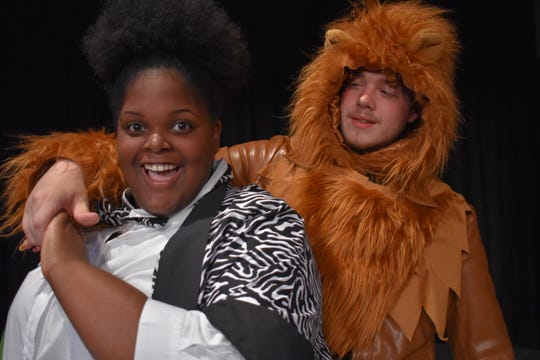 "Brenda Rose and Cameron Wertz play Marty the Zebra and Alex the Lion, respectively, in ""Madagascar Jr."""