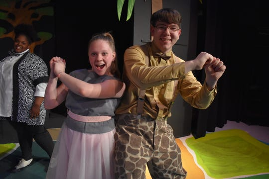 "Emalie Green portrays Gloria the Hippo, and Joshua Carpenter plays Melman the Giraffe in ""Madagascar Jr."""