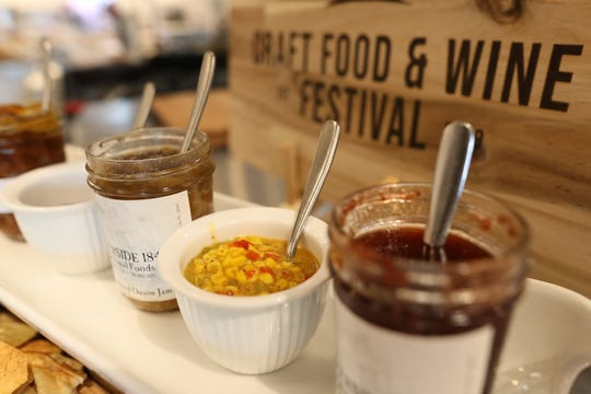 A sampling of Riverside 1844 artisanal preserves and Sur La Table tomato jam and corn relish, some of the local foods that will be featured at the Craft Food & Wine Festival on June 23, 2019.