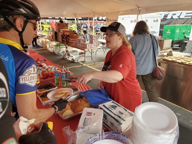 Pancakes are served in Waterloo before the Trek 100 even gets started.